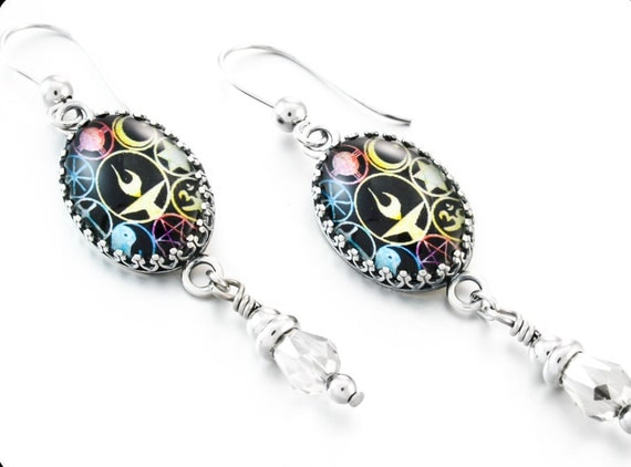 Silver Dangle Charm Earrings with Crystals, Unitarian Jewelry, Vintage Inspired Image Glass Earrings