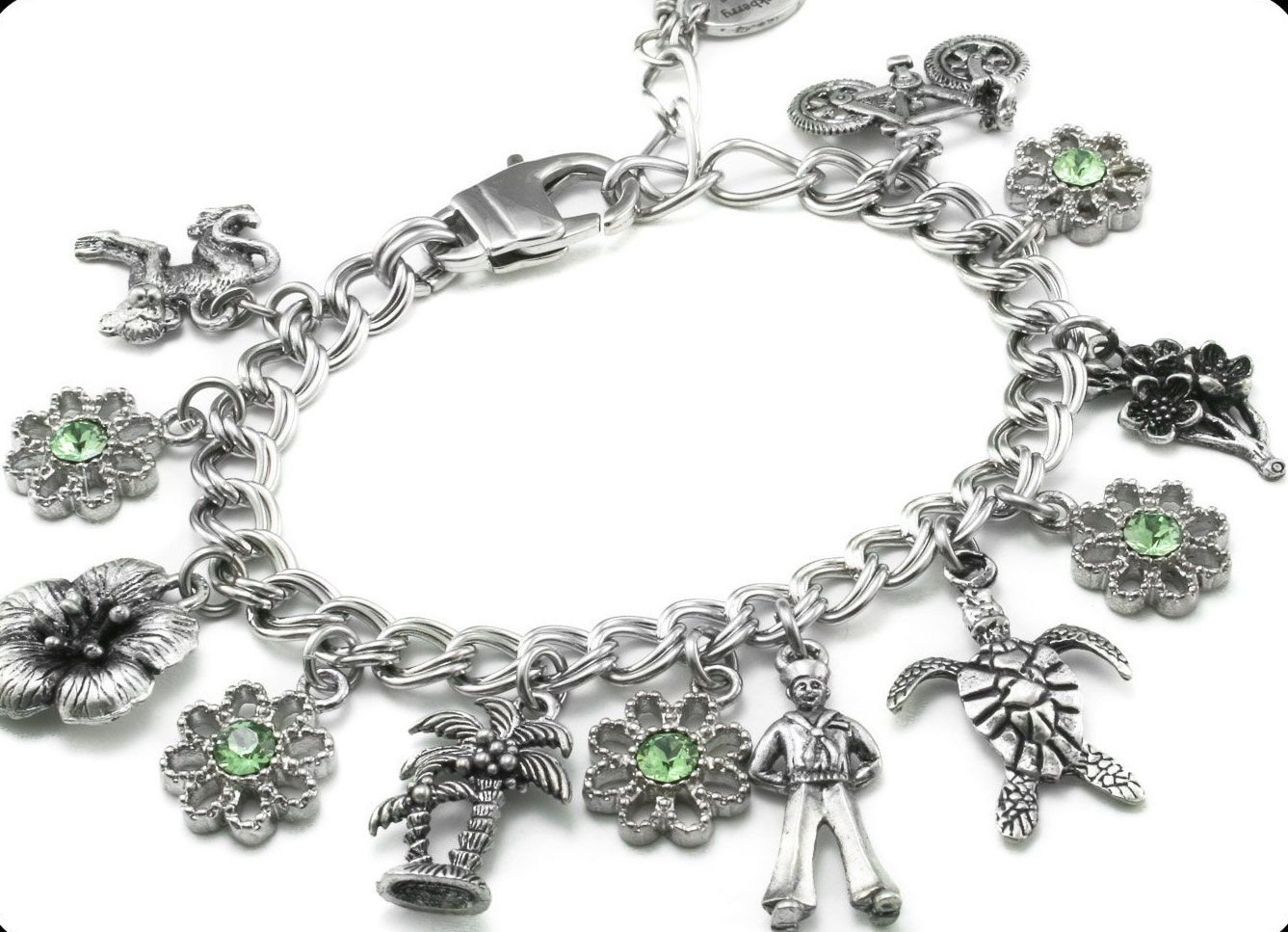 personalized starter charm bracelet with charms of your