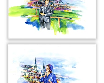 """Set of 2 ORIGINAL LARGE Watercolor Paintings, Horse Racing, Watercolor Art,  Original Paintings """"At The Race"""" by Kathy Morton Stanion EBSQ"""