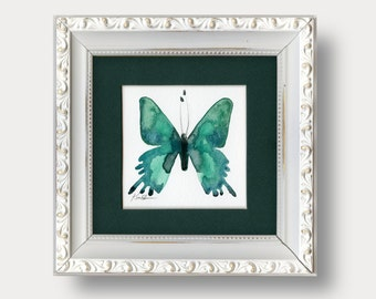 Original Abstract Butterfly Painting in Shabby Chic, Cottage Style Frame, green, teal, forest green by Kathy Morton Stanion EBSQ