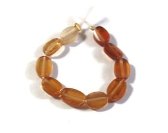 Ten Hessonite Beads, Flat Faceted Oval Beads, 10 Count of Shaded & Long Drilled Gemstones for Jewelry Making (S-Hes2)