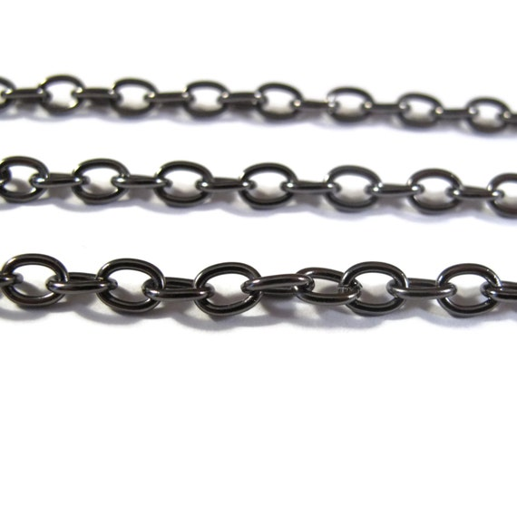 Two Feet of Dark GUNMETAL Cable Chain, 2  Feet of 4.6mm Dark Chain for Making Jewelry, Large Gunmetal Cable Chain (GM40099199)