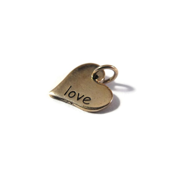 Little Heart Charm, Bronze Love Word Charm, Shiny Gold Heart, Jewelry Supplies for Charm Necklace or Bracelet (Ch 686b)