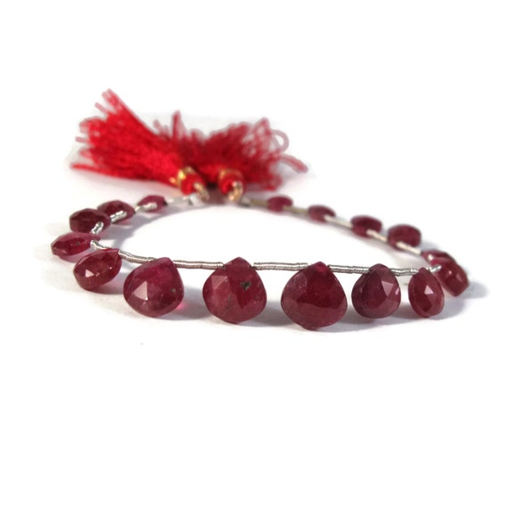 Natural Ruby Beads, Red Gemstones, One Strand of 16 Natural Gemstone Briolettes for Jewelry Making (B-Ru4)