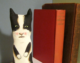 cat art doll , little cat , sandy mastroni, black and white ,whimsical , wall art doll , shelf art,