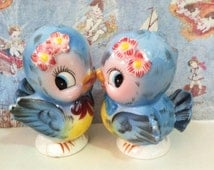 FREE SHIPPING Vintage Antique Mr and Mrs Bluebird Salt and Pepper Shakers Lefton Collectibles or Wedding Cake Toppers