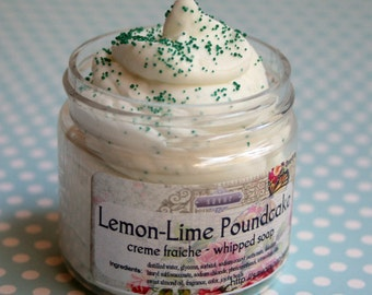 Jojoba Soap Scrub Lemon-Lime Poundcake 2 oz Mini Creme Fraiche Whipped Soap VEGAN