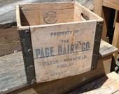 Vintage Milk Crate Page Dairy Co Toledo Mansfield Findlay Ohio Mid Century Wood and Metal