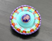 Handmade Artisan Lampwork and Polymer Clay Brooch in Bright and Whimsical Colors