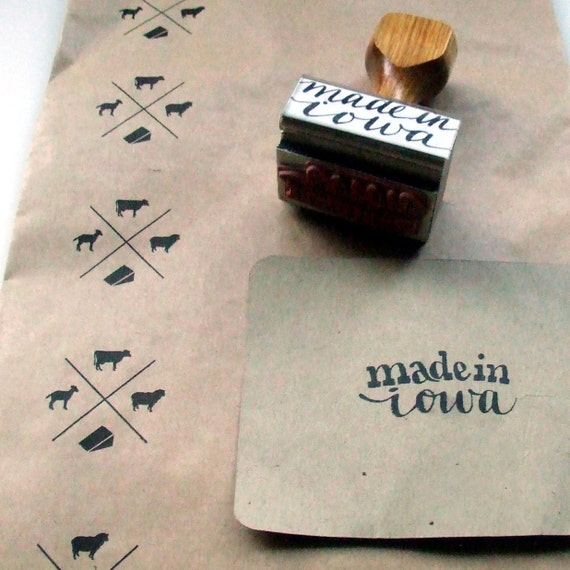 Made in iowa rubber stamp hand lettered modern