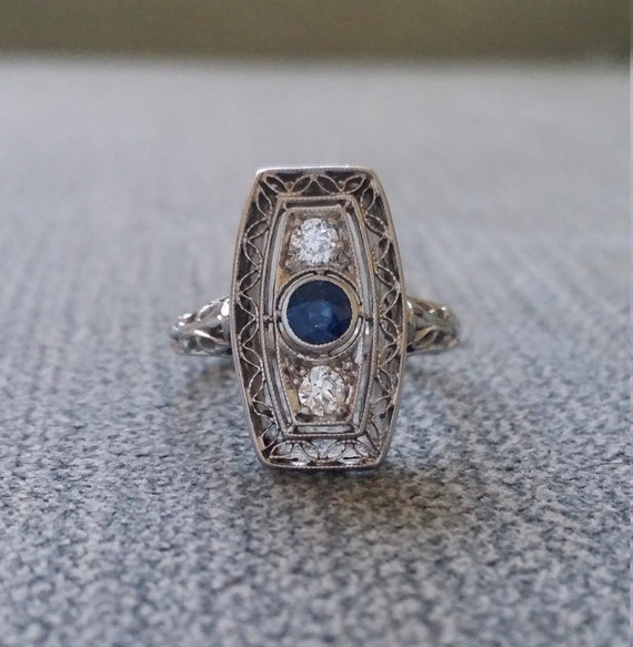 antique blue sapphire engagement ring filigree