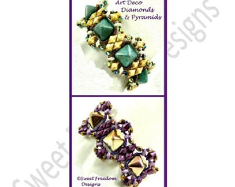 GemDuo Beadweaving Tutorial Pattern Bracelet DiamonDuo 12mm Pyramid Stud MiniDuo .pdf Instructions for Personal Use Jewelry Instructions
