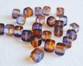 DESTASH 25 PCS Czech Glass Beads Rounded Cube Orange Purple 6mm