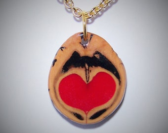 Valentine's Day Gift for her Walnut Pendant with  a Heart and a Gold Chain Necklace with a choice of 2 sizes #9 Love in a Nutshell