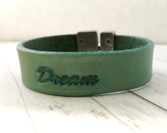 Leather Dream bracelet - Turquoise Leather Bracelet - Turquoise Bracelet - Custom Bracelet - 3rd anniversary gift for Wife or Husband