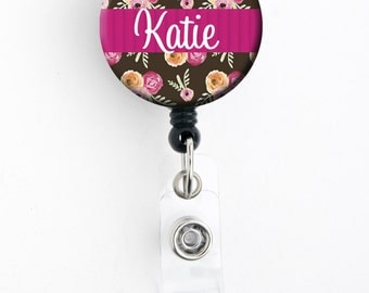 Retractable ID Badge Holder - Personalized Name - Pink Ribboned Floral - Choice of Badge Reel, Carabiner, Lanyard, Steth Tag