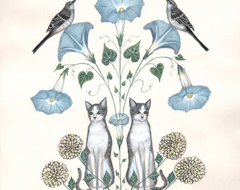 Cats and Mockingbirds - Original Painting