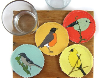 Fabric Bird Coasters--Western Backyard Birds