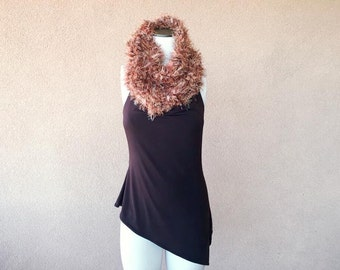 Scarf Gift Circle Scarf Knit Scarf Brown Copper Scarf Ready to Ship Gift for Her