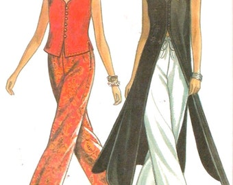 Boho top duster pants sewing pattern Vintage 90s New Look 6246 Casual Festival wear style fashion Size 6 to 16 UNCUT