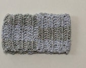 Crocheted Silver and White Checkerboard Cuff Bracelet