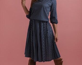 Vintage Navy Polka Dot Skirt And Top Set (Size Small)