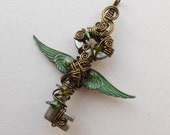 Small Green Winged Key Pendant -- Steampunk Feathered Winged Key, Crystals, Wire Wrapped, by Silver Owl Creations