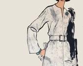 1960s MOD Dress w/ Front Neckline Split & Kimono sleeves Very Easy Vogue 7558 Vintage Sewing Pattern Size 18 Bust 40