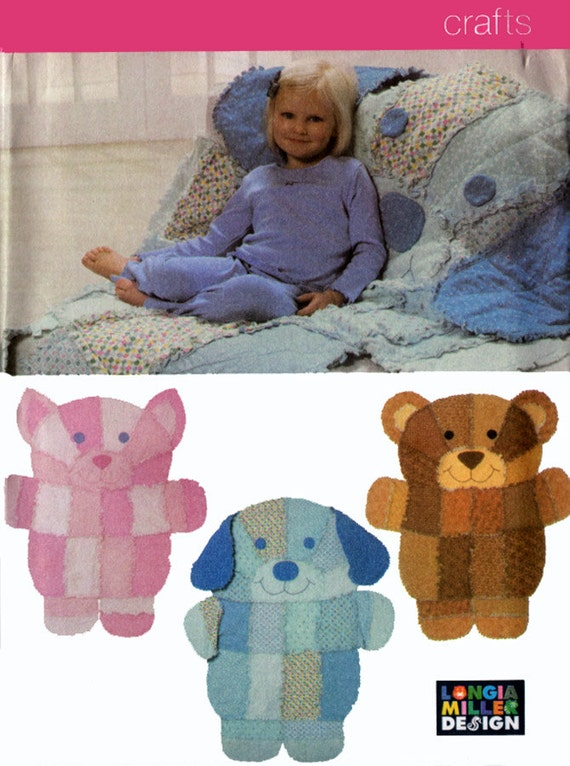 Rag quilt animal blanket bear dog cat sewing pattern oop 2004 for Simplicity craft pattern 4993