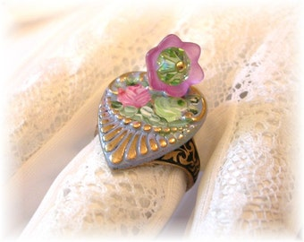 Victorian Rose Ring Enamel Flower Ring Pink Green Enamel Flowers Beads Brass Ring Romantic Shabby Chic Blue Adjustable Ring Vintage Style