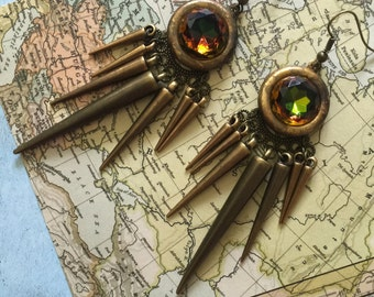 Brass Spike Earrings Smoky Green and Topaz gem multi spike colorful dramatic earrings tribal gypsy jewelry