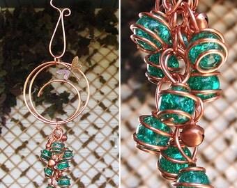 Dragonfly Butterfly Wind Chimes / Gypsy Windchime Copper Glass Garden Art Suncatcher Yard/Lawn/Outdoor Decor