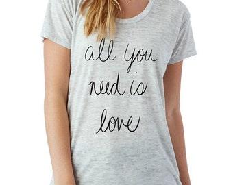 All you Need is LOVE boho slouchy t shirt Alternative Apparel KIMBER tee tshirt vintage style screenprint ladies scoop top