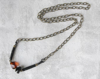 Boho Beaded Necklace // Tribal Neckalce  // Vintage Bead and Brass Chain Necklace // Modern Bohemian Jewelry Handmade by Luluanne