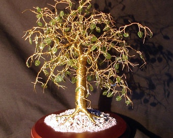 Jade on Rosewood, wire tree sculpture