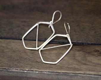 Hoop Earrings , Hexagon Geometric Dangles in Gold , Rose Gold , Sterling Silver , Bohemian  Fashion - Hexagon Geo