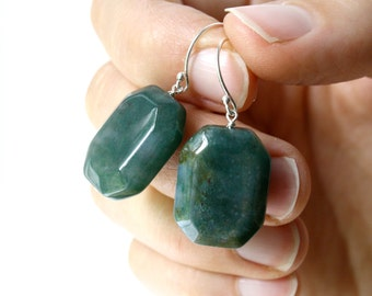 Moss Agate Earrings . Rectangle Earrings . Chunky Earrings . Green Gemstone Earrings Sterling Silver - Dunedin Collection NEW