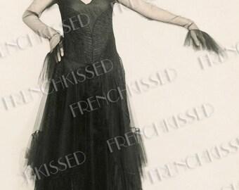 1920s 1930s Art Deco Retro Model in Black Real Photo French Postcard Vertical Version Digital Printable
