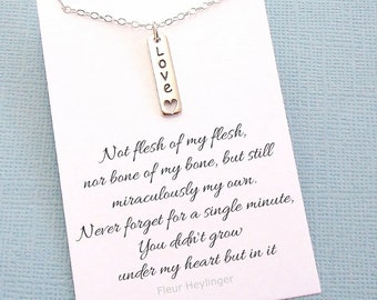 Adoption Gift | Bar Necklace, Stepdaughter, Gift from Stepmom, Step Daughter Gift, Gift from Stepdad, Parent Gift, Blended Family | A6