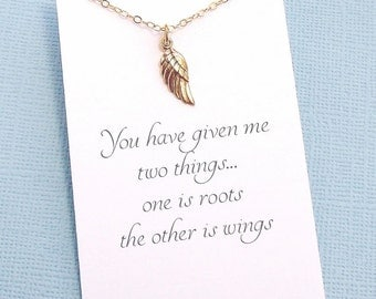Angel Wing Necklace | Mothers Necklace | Mothers Jewelry | Mom Necklace | Gifts for Mom | Gold or Silver | M09