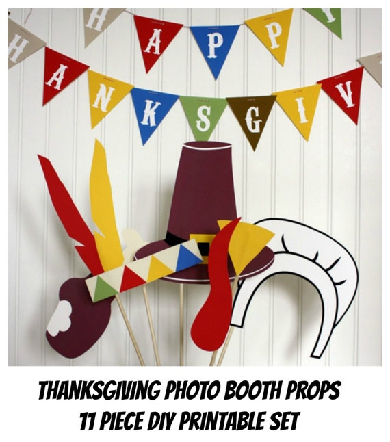 Thanksgiving PHOTO BOOTH PROPS  Photo Props Printable (11 pcs.) -  diy printable / downloadable pdf
