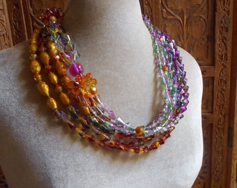 Bohemian Gypsy necklace, Cascade of colorS & light MULTISTRAND INFINITY