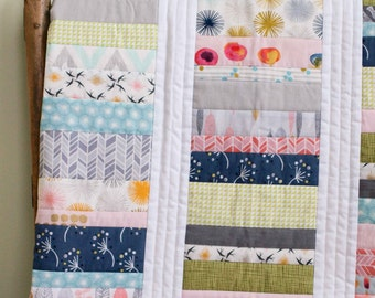 Modern Quilt; Custom, Made to Order Organic Cotton Crib, Toddler, Throw Quilt; Pink Patchwork Stacks Quilt; Baby Shower Gift; Wedding Gift