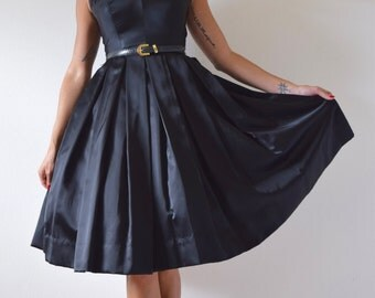 SPRING SALE/ 20% off Vintage 50s 60s Inky Black Satin Pleated Full Skirt New Look Party Dress (size xs, small)