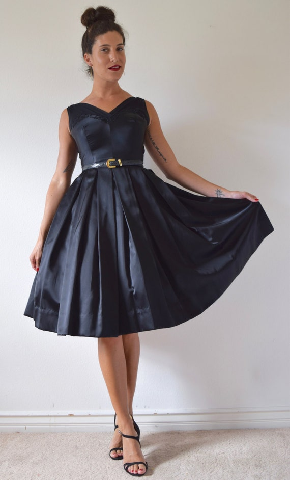 SUMMER SALE/ 30% off Vintage 50s 60s Inky Black Satin Pleated Full Skirt New Look Party Dress (size xs, small)