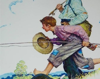 Vintage Going Fishing Grandfather and Me Norman Rockwell Print 11742 &