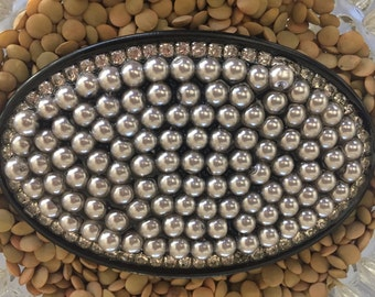 Women's Belt Buckle with gray pearls with rhinestone
