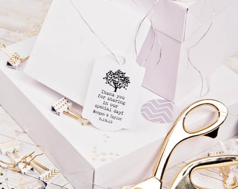 Tree rubber stamp thank you for sharing in our special day wedding favors