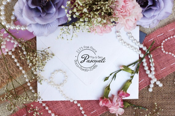 Custom return address stamps - The perfect wedding gift for the newlyweds Wood Mount --2272