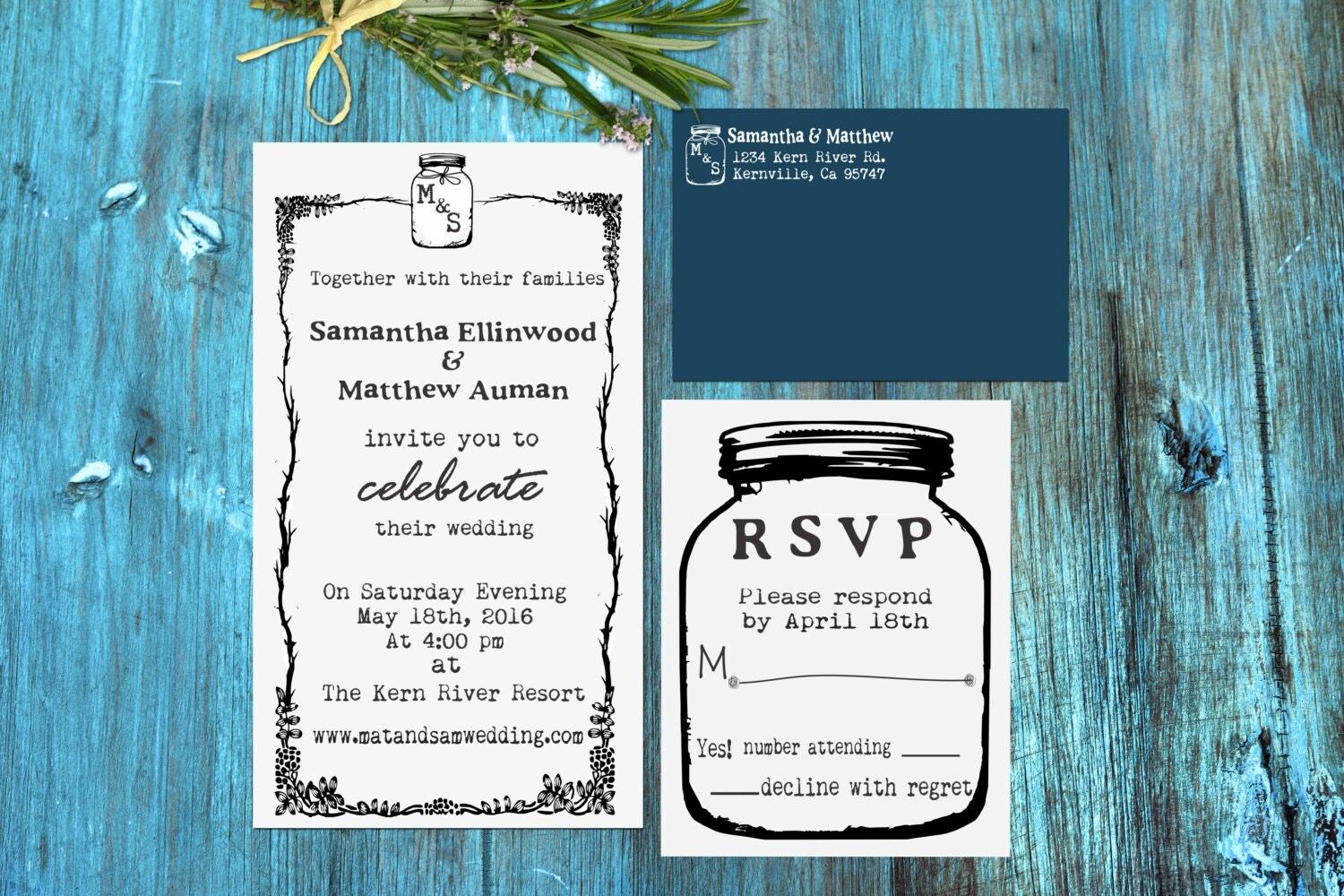 Personalized Rubber Stamps For Wedding Invitations: Mason Jar Wedding Invitation Rubber Stamp SET With Invitation